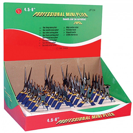 24 PC. JEWELERS PLIER ASSORTMENT - COUNTER TRAY