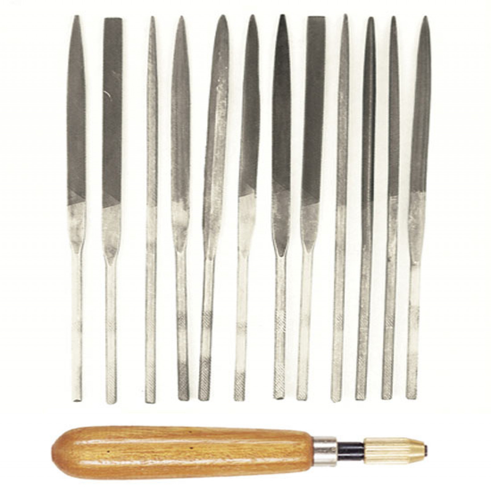 12-PC. NEEDLE FILE SET WITH WOOD HANDLE