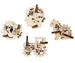 Ugears - U-Fidgets Tribiks (4 pcs.) - Laser Cut Wood - 10 Parts