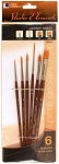 Studio Elements Golden Taklon Short Handle Round / Script Liner / Filbert / Wash Brush Set