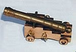 Mantua Model 30544 Brass Cannon on Hardwood Carriage - 45 mm length