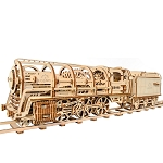 Ugears - Mechanical Steam Locomotive with Tender - Laser Cut Wood - 443 Parts