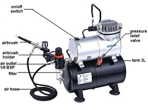 Ningbo Haosheng AS186K Air Compressor w/ 3 Litre Air Tank, Regulator, Air Hose & Gravity Fed Airbrush - 110 Volt