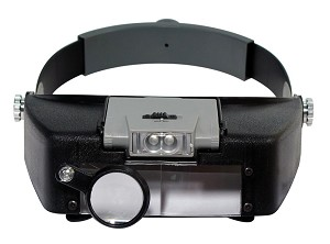 Illuminated Dual Lens Flip-in Head Magnifier. 2 Lens & Loupe (1.9x , 1.9x , 4.5x)