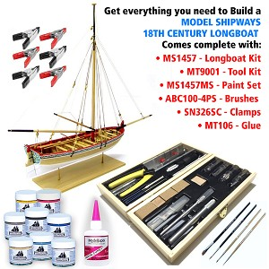 18TH CENTURY LONGBOAT KIT WITH TOOLS, PAINTS, BRUSHES, GLUE & CLAMPS