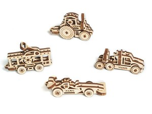 Ugears - U-Fidgets Vehicles (4 pcs.) - Laser Cut Wood - 18 Parts