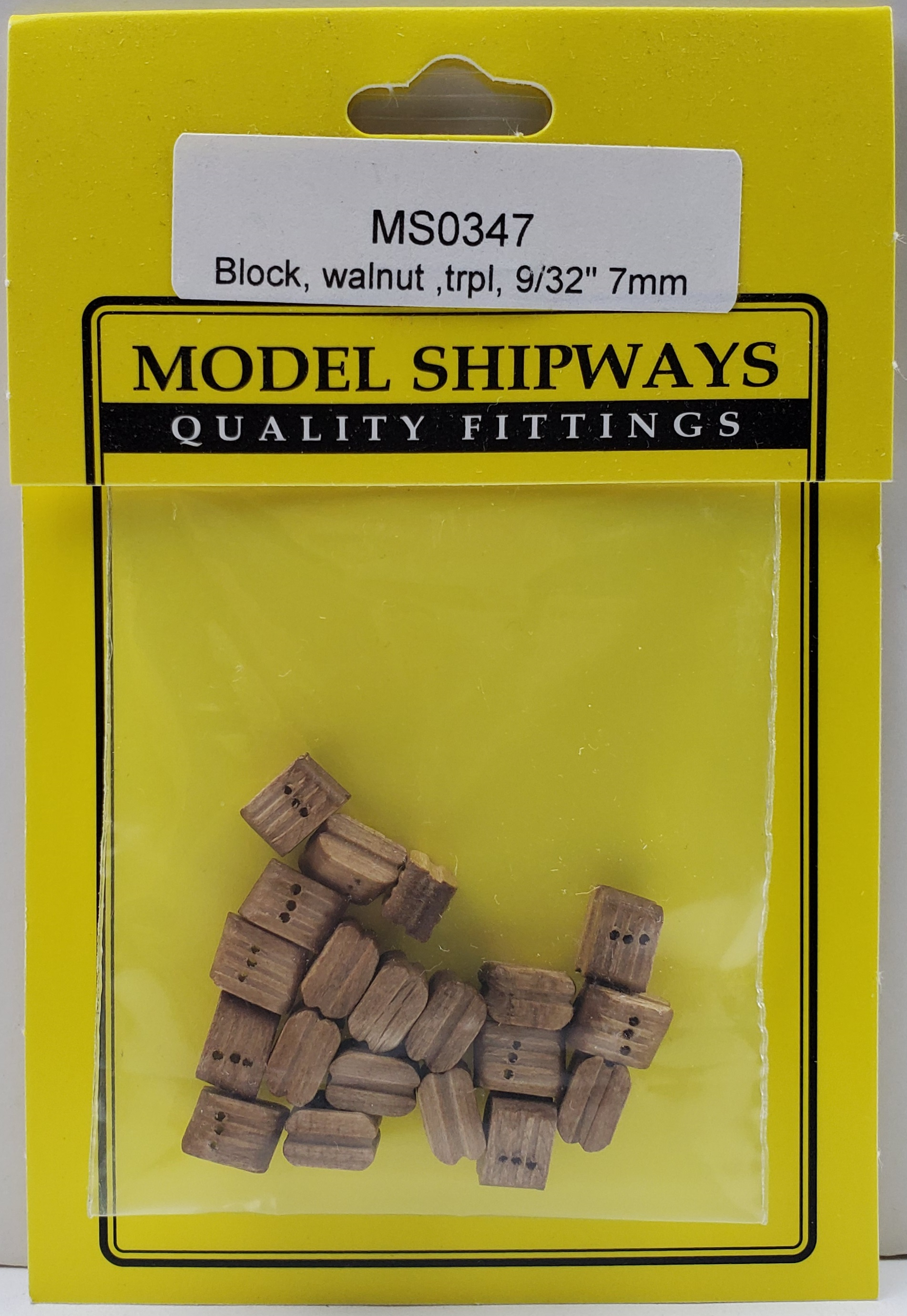 Model Shipways Triple Sheave Block, Walnut 9/32