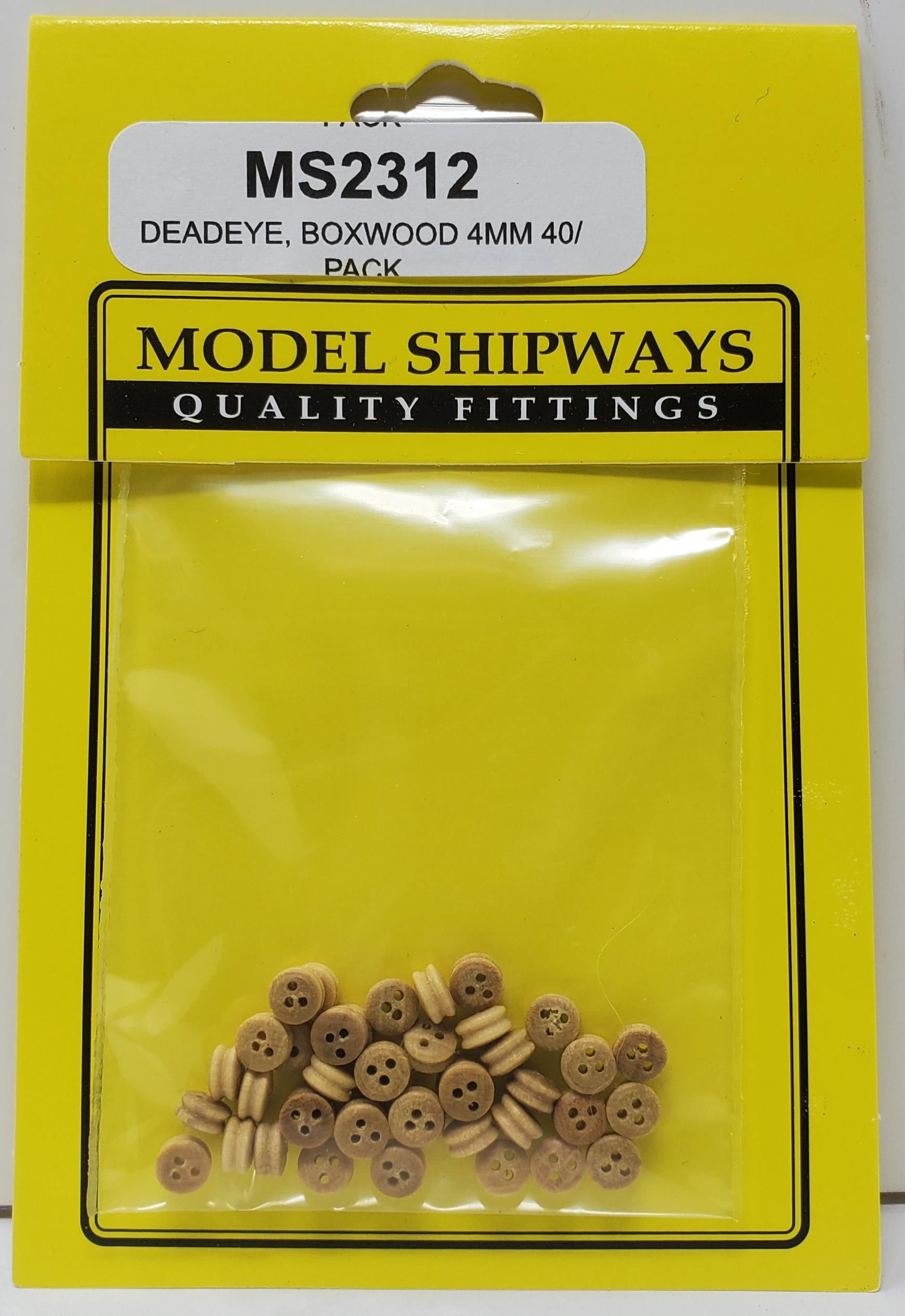 Model Shipways DEADEYE, Boxwood 4mm 40 pack