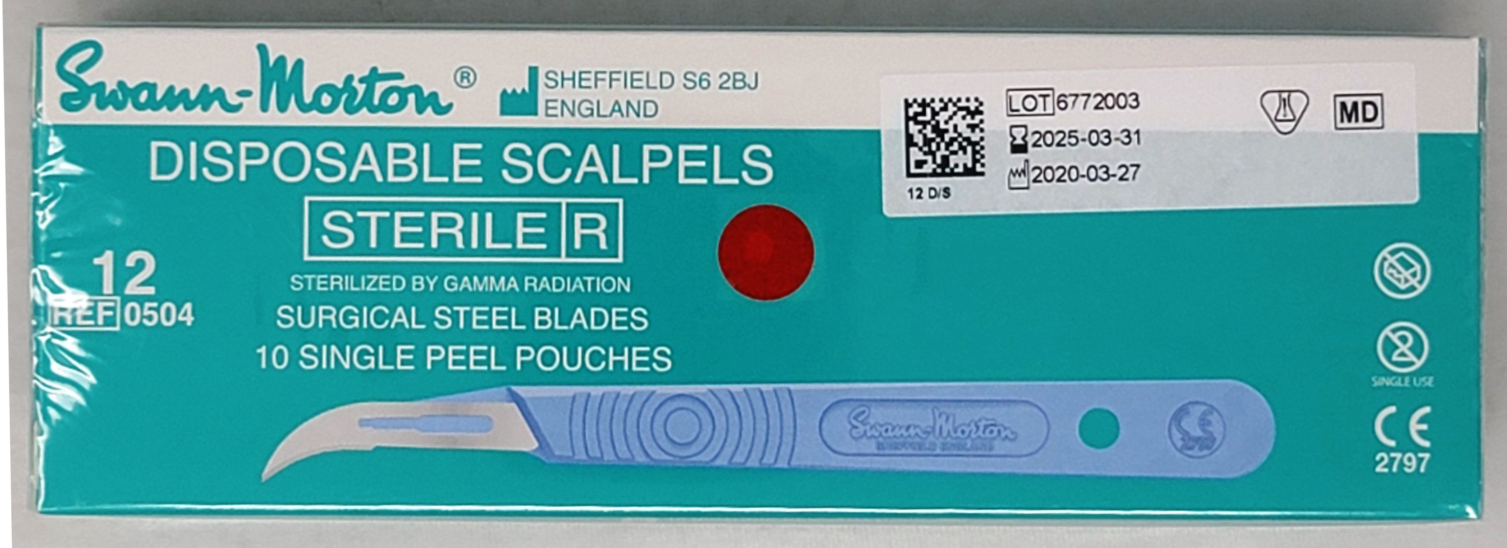 Swann-Morton Disposable Scapel Size 12 Sterile Box of 10
