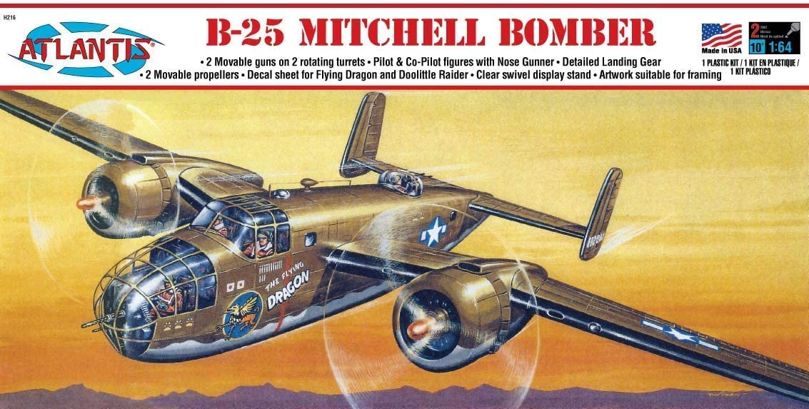 Atlantis Models B-25 Flying Dragon with Swivel Stand 1/64 Scale