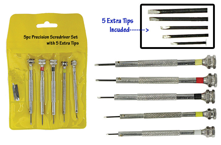 5-Pc. Precision Screwdriver Set, Steel Tips: 0.8, 1.0, 1.2, 1.4, 1.6mm