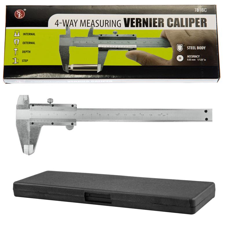 "VERNIER CALIPER 6/""//150mm carbon Steel  4-way Caliper in Padded Storage Box"