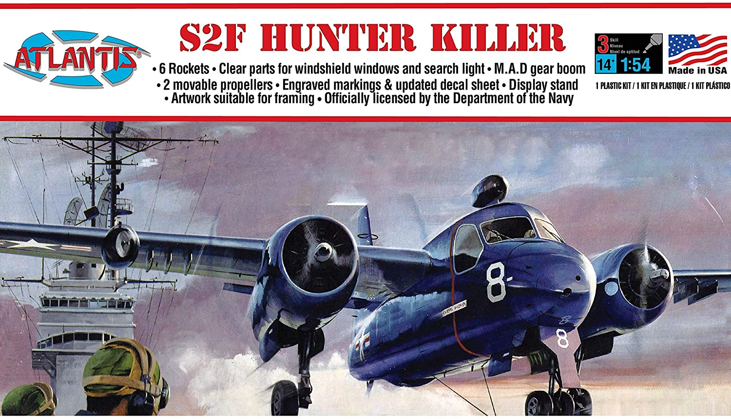 Atlantis Models S2F Hunter Killer US Navy 1/54 Scale