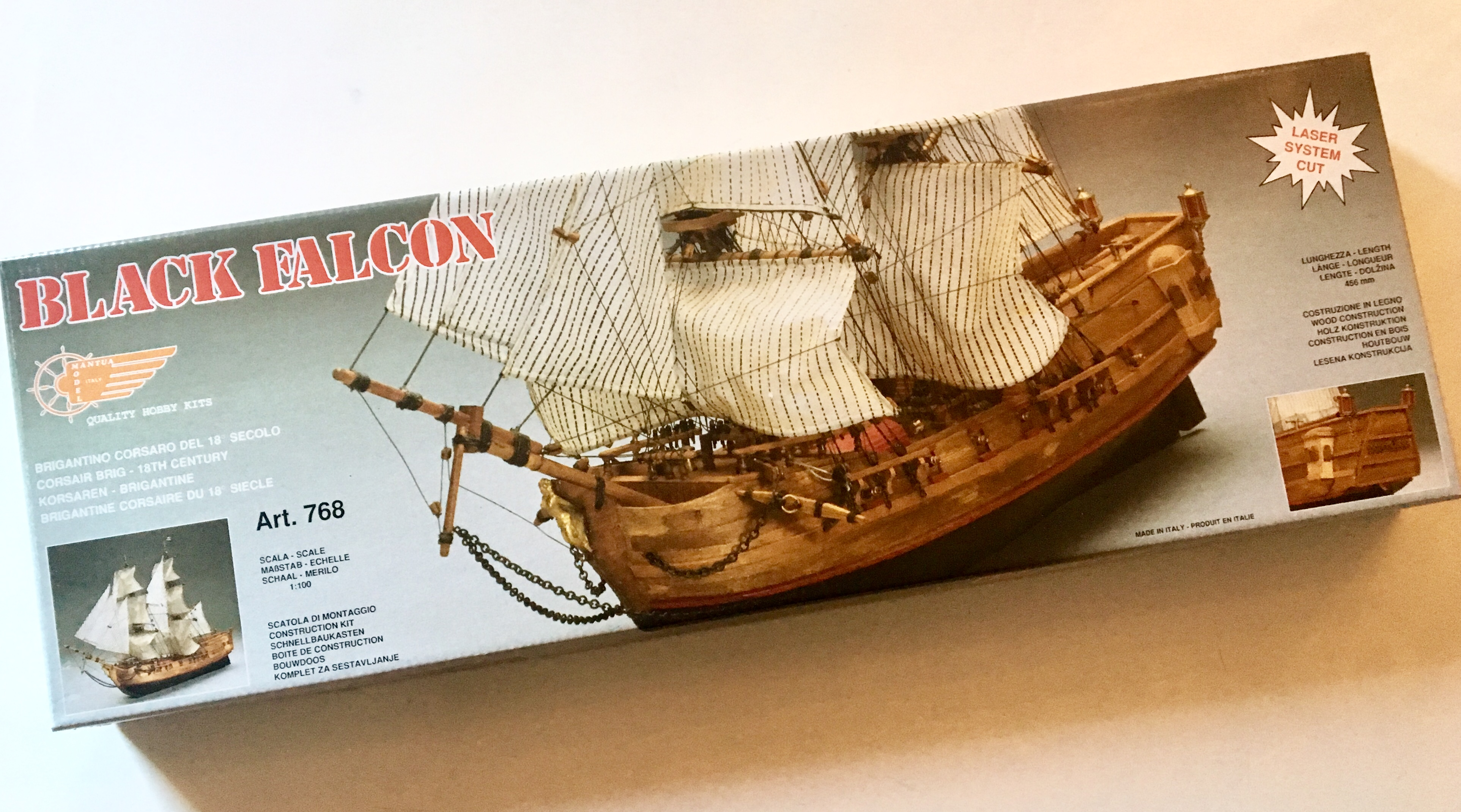Mantua Model 768 Black Falcon Pirate Ship Plank On Bulkhead Construction Length 20 Height 14 Scale 1100