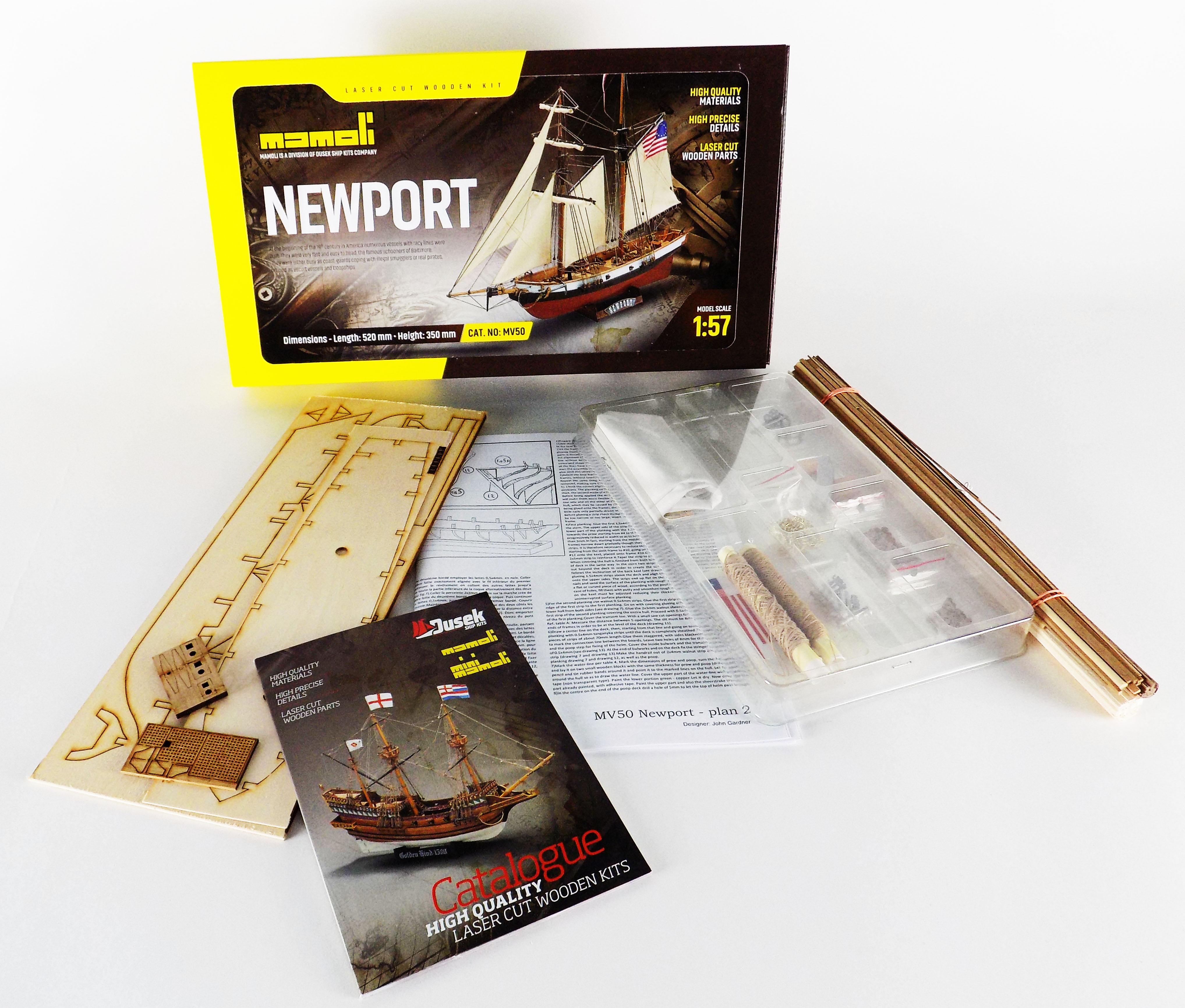 Mamoli MV50 Newport - Wood Plank-On-Frame Ship Model Kit - Length 520 mm  (21