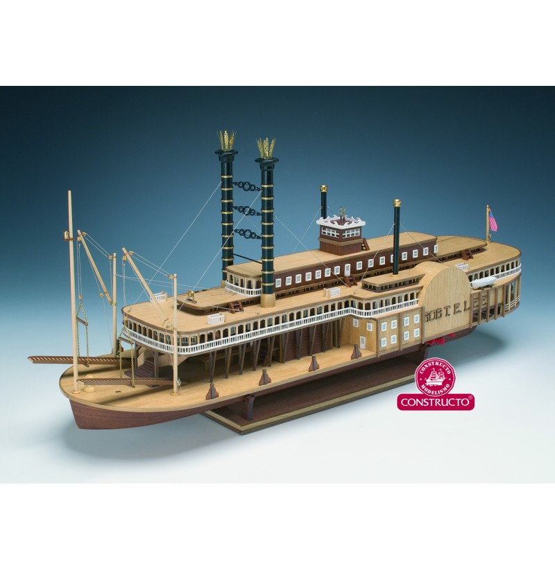 Constructo Robert E. Lee Steamboat Laser Cut Wood & Metal Model Ship Kit 80840 - Scale 1:140, Made in Spain