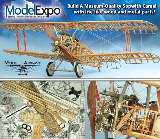 MODEL AIRWAYS SOPWITH CAMEL WW1 PLANE WOOD & METAL MODEL KIT 1:16 SCALE