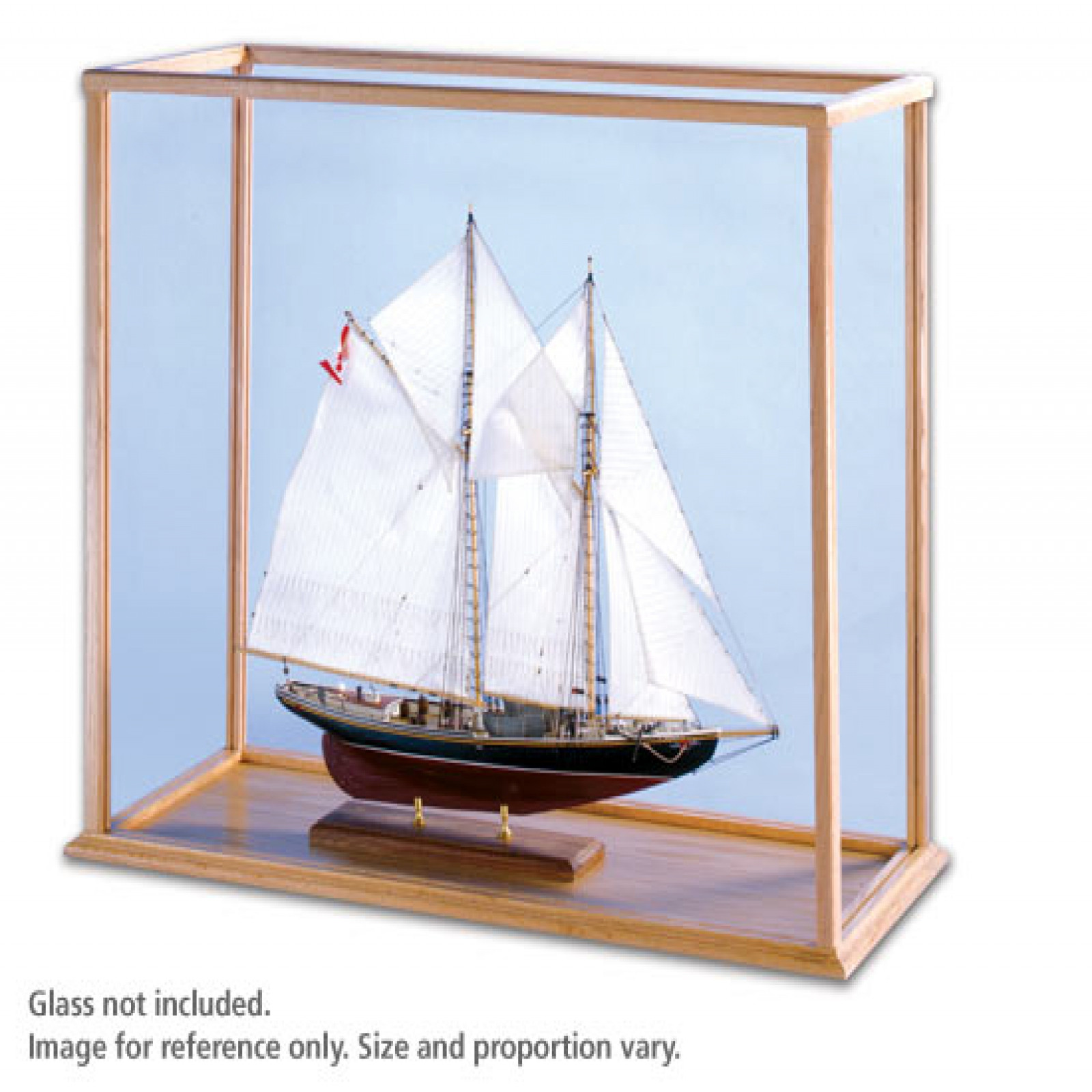 OAK SHIP MODEL CASE   L28 X W8 X H22    KIT