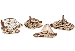 Ugears - U-Fidgets Ships (4 pcs.) - Laser Cut Wood - 10 Parts