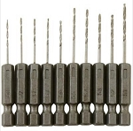 ENK548 Mini-Hex Drills - Set of 10 Number Drills #51 thru #60 with hexagon shanks for use with rotary tools & hand drills