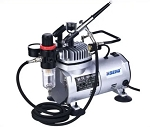 Ningbo Haosheng AS18K-2 Air Compressor with Regulator, Air Hose & Gravity Fed Airbrush - 110 Volt