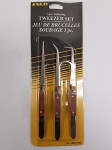 ENK1046-7-8C   3 Pc. Wood Handled Soldering Tweezer Set.