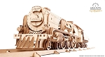 Ugears - V-Express steam Train with Tender - Laser Cut Wood - 538 Parts