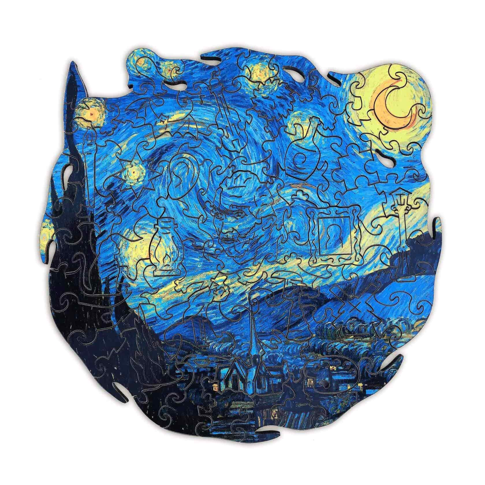 Starry Night Wooden Puzzle SIZE SMALL 101 pieces, 19x19 cm (8 x 8