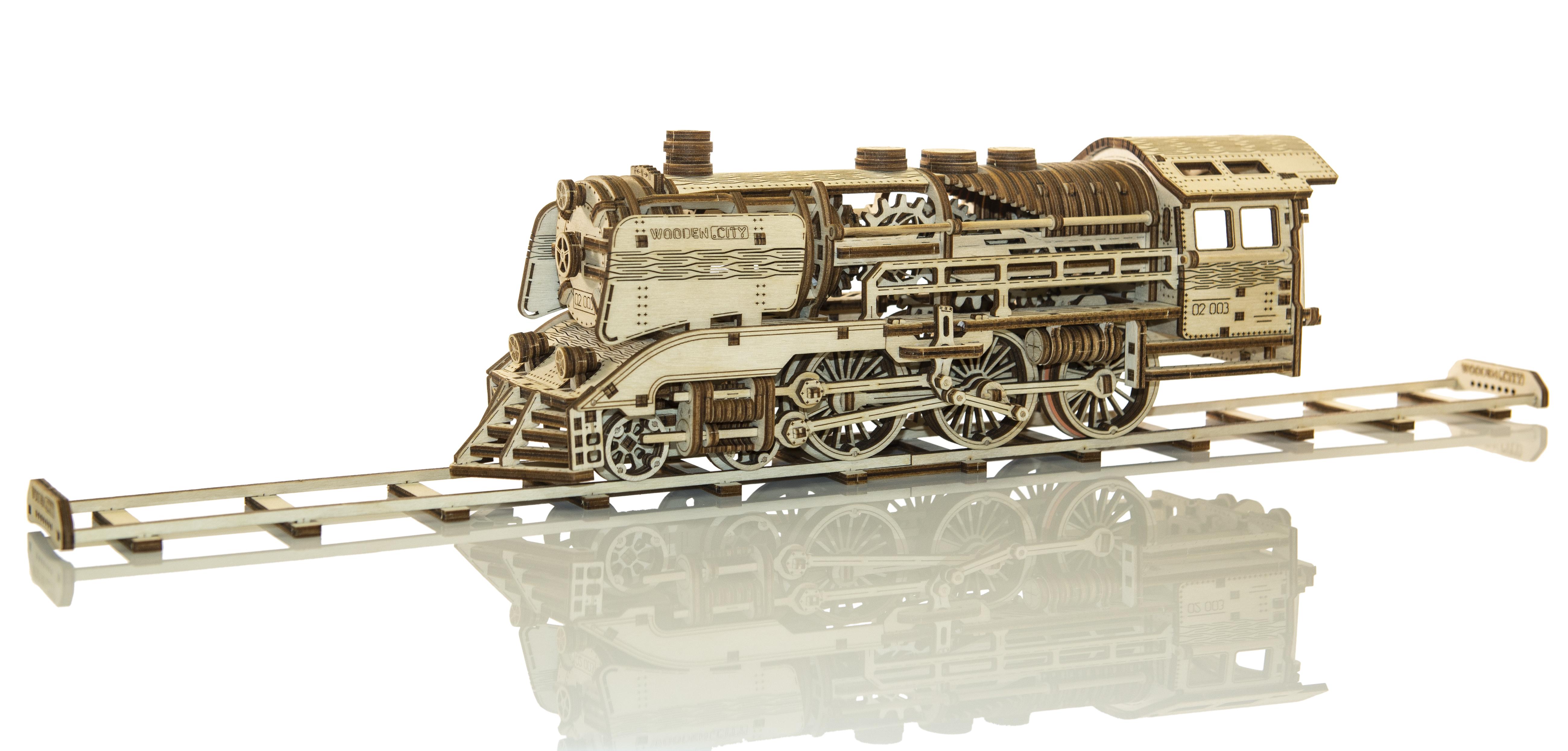 Woodencity Wr323 Wooden Express Locomotive Train Plus Tender Rails Motion Model Kit