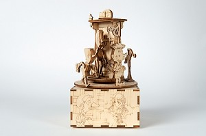 "Pinocchio Music Box 3D Puzzle #3 ""Geppetto & the Coat"" - Laser cut wooden kit from Italy"