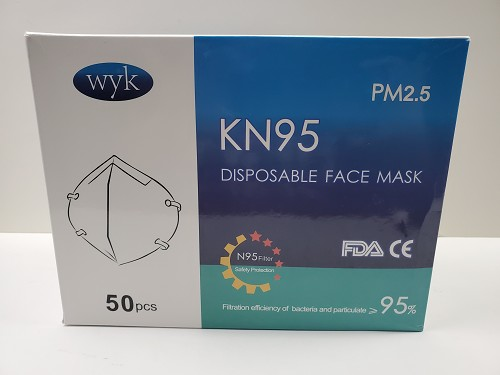 WYK KN95 Medical Grade Disposable Face Masks 1 Box of 50 Individually Wrapped Masks