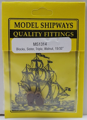 "Model Shipways SISTER Triple Sheave Block, Walnut 15/32"" (12mm)4 pack"