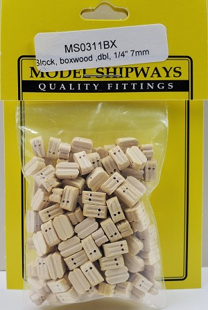 "Model Shipways Double Sheave Block, Boxwood 1/4"" (7mm) - 150 pack"