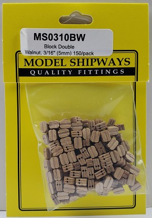 "Model Shipways Double Sheave Block, Walnut 3/16"" (5mm) - 150 pack"
