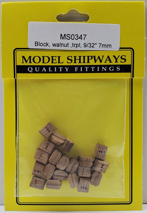 "Model Shipways Triple Sheave Block, Walnut 9/32"" (7mm) 20 pack"