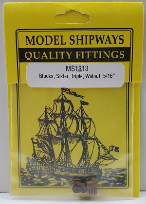 "Model Shipways SISTER Triple Sheave Block, Walnut 5/16"" (8mm) - 4 pack"