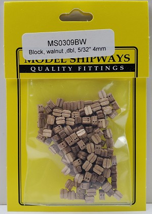 "Model Shipways Double Sheave Block, Walnut 5/32"" (4mm) - 150 pack"