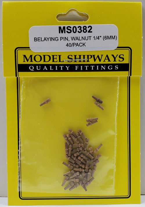 "Model Shipways Belaying Pins, Walnut 1/4"" (6mm) 40 pack"