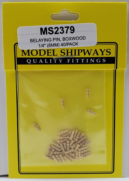 "Model Shipways Belaying Pins, Boxwood 1/4"" (6mm) 40 pack"