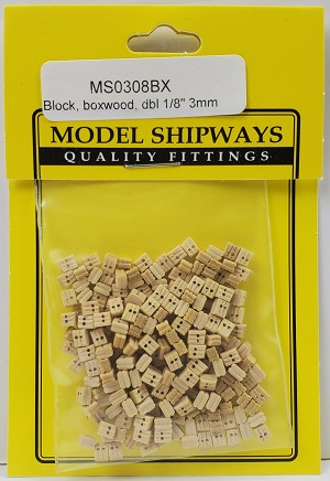 "Double Sheave Block, Boxwood 1/8"" (3mm) - 150 pack"