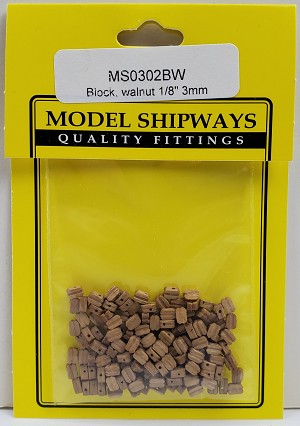 "Model Shipways Single Sheave Block, Walnut, 1/8"" (3mm) - 150 pack"