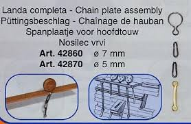 Mantua Model 42860 Complete Chain Plate for 7 mm Deadeyes - Pkg. of 10 pcs.