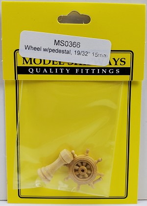 "Model Shipways HELM & PEDESTAL, Boxwood 19/32"" (15mm) rim dia. 1 pack"