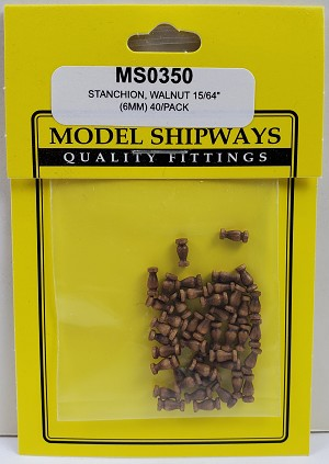 "Model Shipways STANCHION, Walnut 15/64"" (6mm) 40 pack"