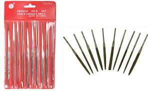 "10-Pc. 5-1/2"" (5mm x 127mm) Needle File Set, Premium Quality, Medium Cut"