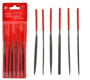 "Sona 6-Piece 5-1/2"" (7mm x 140mm) Dipped Handle Fine Cut Needle File Set"