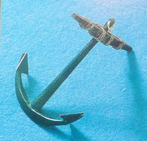A-40 Corel Anchor - 50 mm High - Cast metal with wood stock and rigging