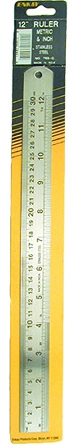 "ENK769-C  12"" X 1-1/8"" Stainless Ruler -  Inches and Millimeters"