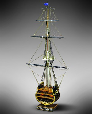 "Mamoli MV32 - USS Constitution Section  - Wood Plank-On-Frame Model Ship Kit - Scale: 1/93  Width: 320 mm (13""), Height: 667mm (26"")"