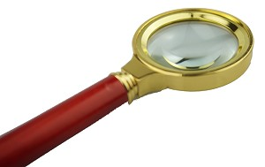 "Hand Held 6X Magnifier, 1-1/2"" Glass Lens, Brass Body, Wood Handle"